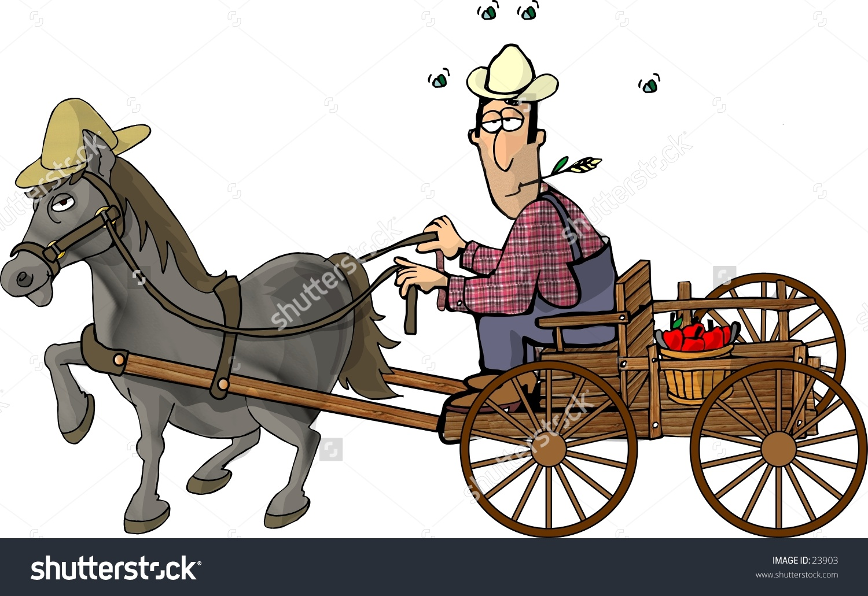 Clipart Illustration Farmer Horse Drawn Wagon Stock Illustration.
