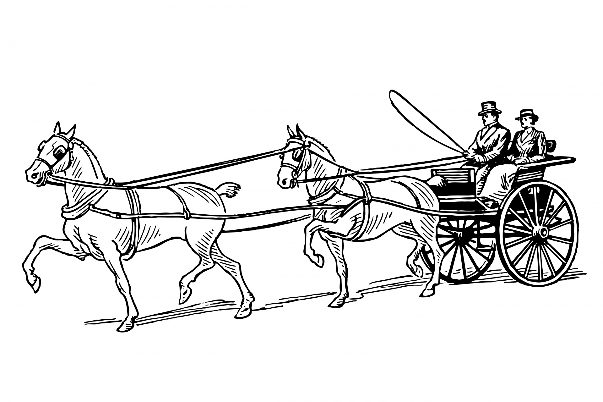 Horse Drawn Buggy Clipart Free Stock Photo.