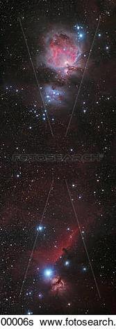 Stock Images of Mosaic of Orion Nebula and Horsehead Nebula.