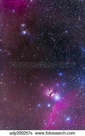 Stock Images of Messier 78 & Horsehead Nebula in Orion. ady200257s.
