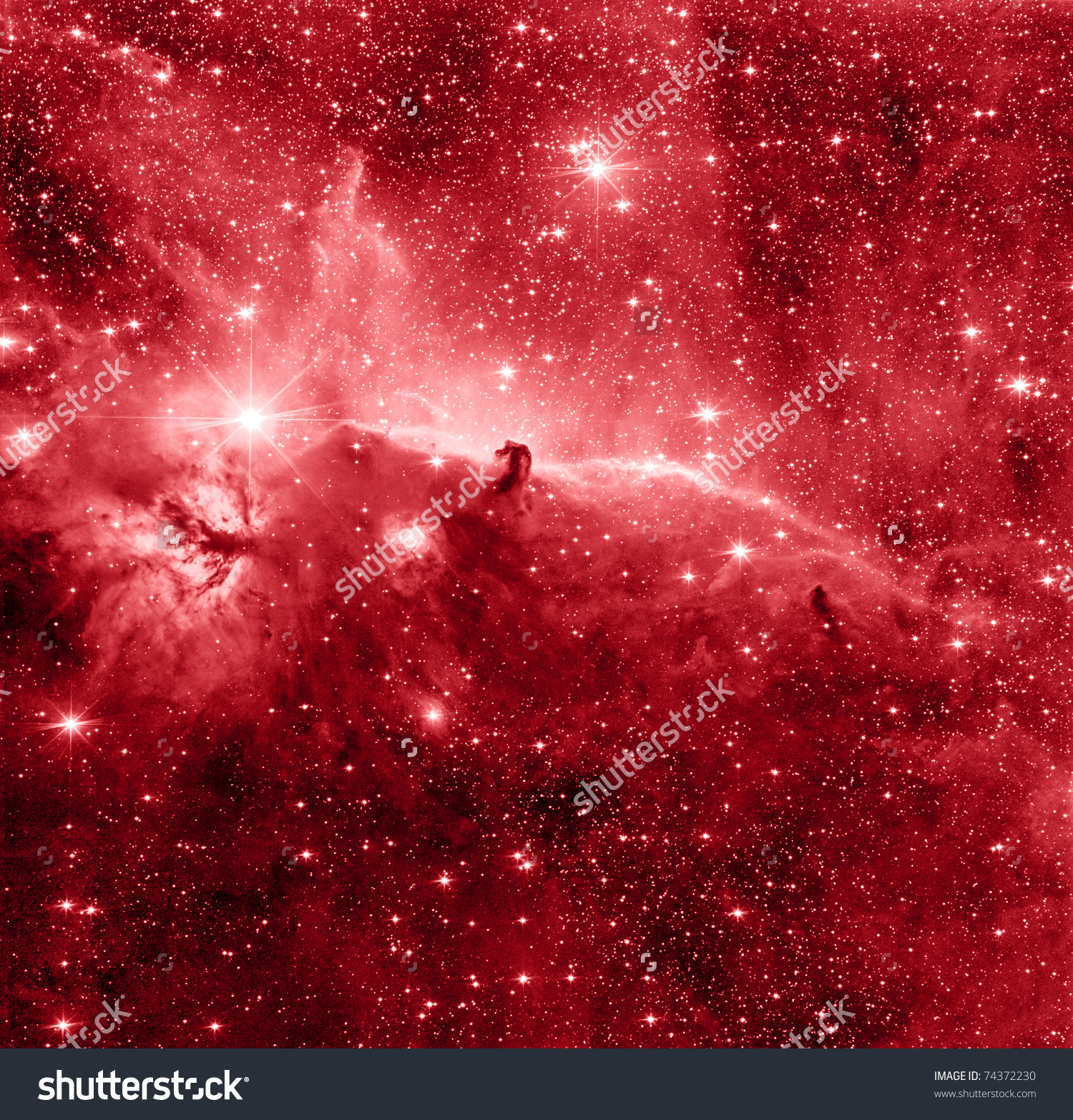 Horse Head Nebula Red Color Stock Photo 74372230.
