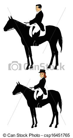 Clip Art Vector of riders on a horse.