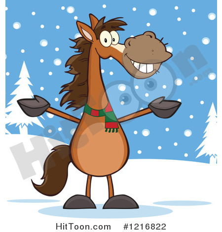 Horses in snow clipart.