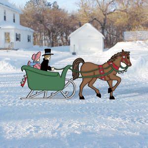one horse open sleigh clipart.