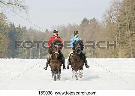 Pictures of two girls riding on Icelandic horses in snow 159038.