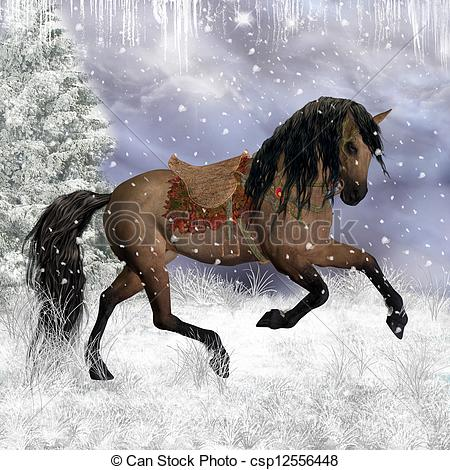 Stock Illustrations of Horses in the snow.