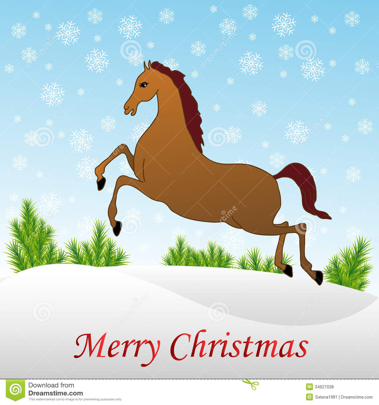 Horses in the snow clipart.