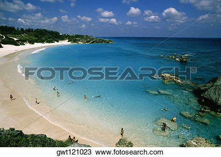 Stock Photo of Aerial view of people at Horseshoe bay beach.