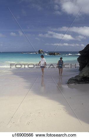 Stock Images of Bermuda, beach, Horseshoe Bay, Southampton Parish.