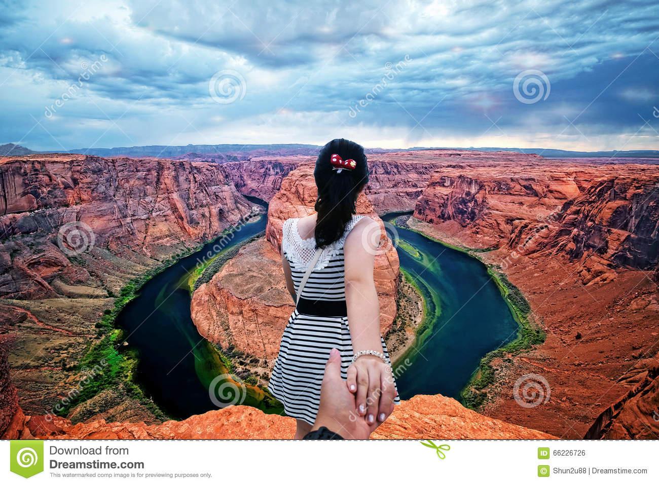 Horseshoe Bend Arizona, Follow Me To Stock Photo.
