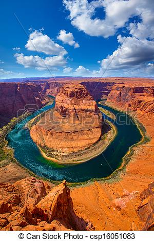 Pictures of Arizona Horseshoe Bend meander of Colorado River in.
