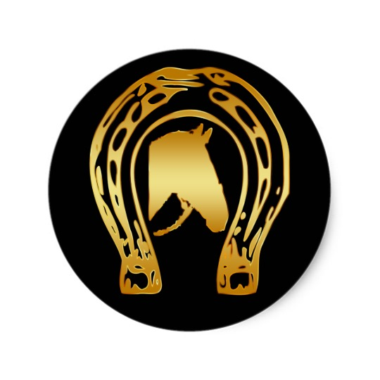 GOLD HORSESHOE AND HORSE HEAD CLASSIC ROUND STICKER.