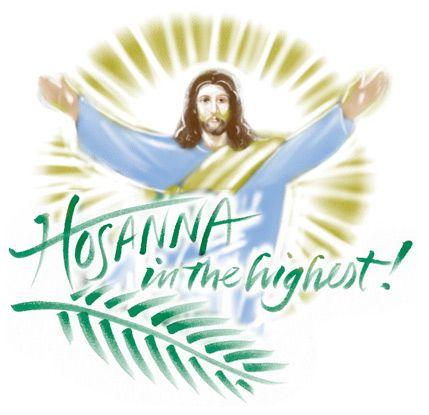 Palm Sunday Clip Art Image of Jesus and palm branch.