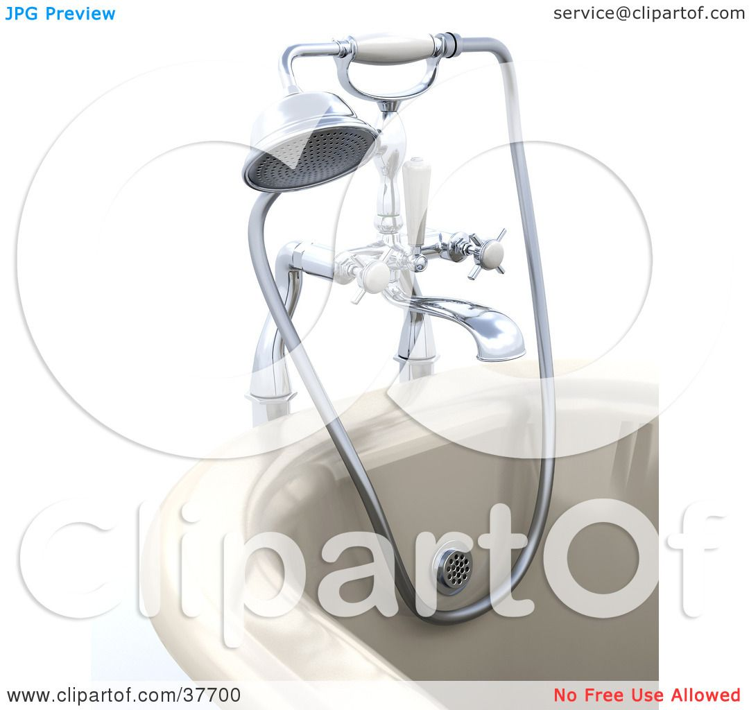 Clipart Illustration of a Modern Bath Tub With A Shower Head And.