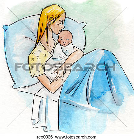 Stock Illustration of A woman in a hospital bed holding her.