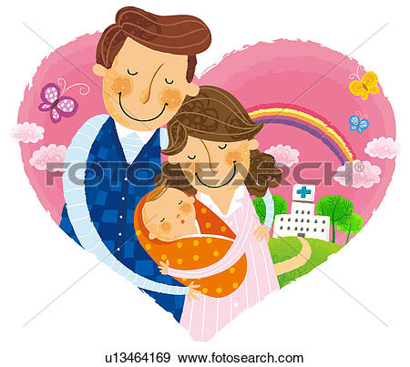 Stock Illustration of Couple leaving with new born baby from.