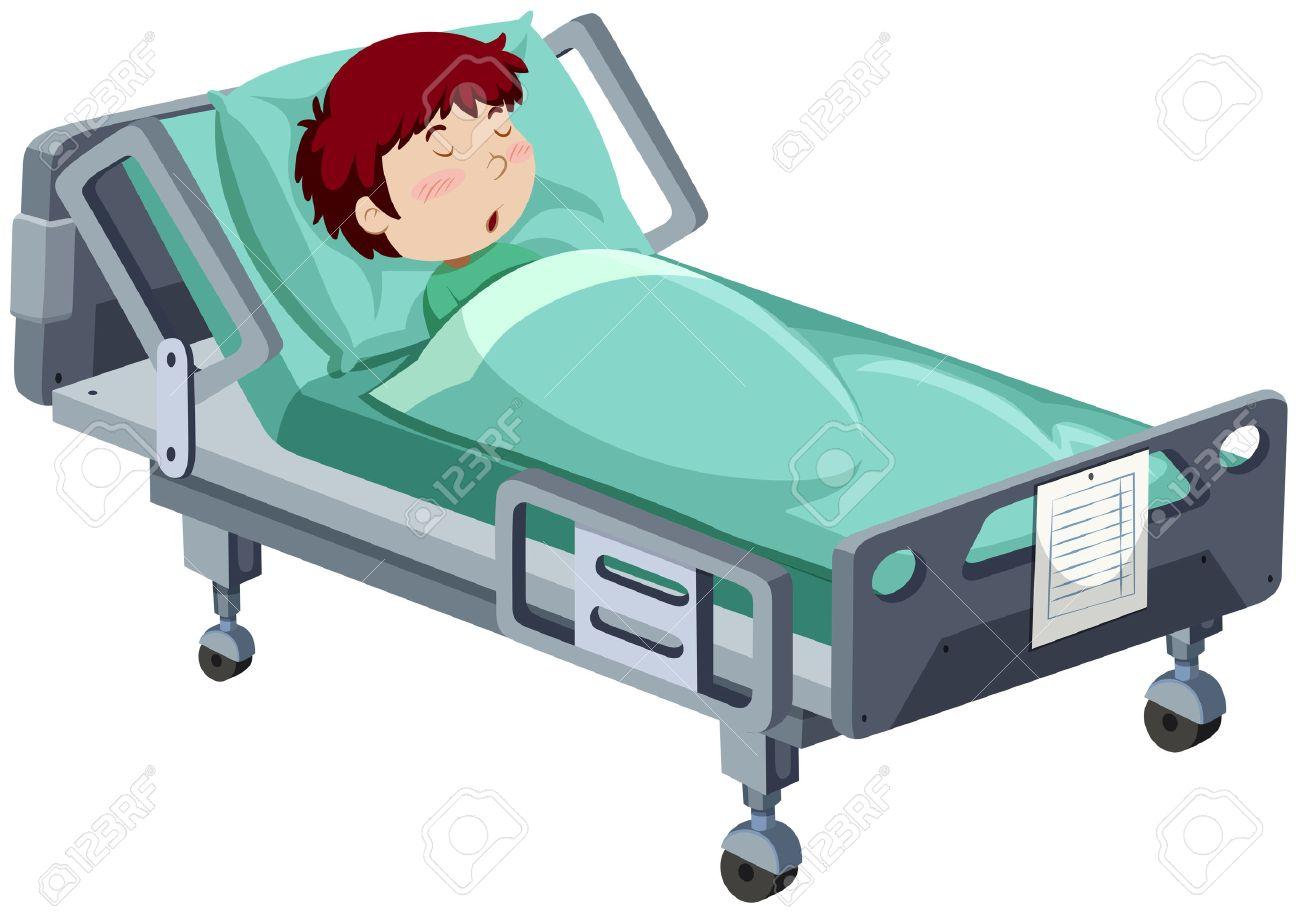 Boy being sick in hospital bed illustration.