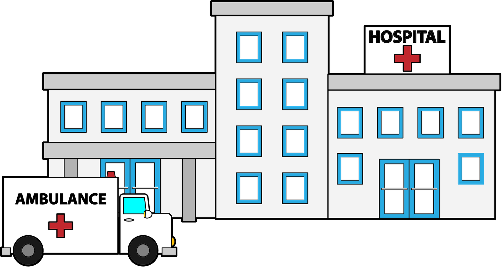 Hospital black and white clipart » Clipart Station.