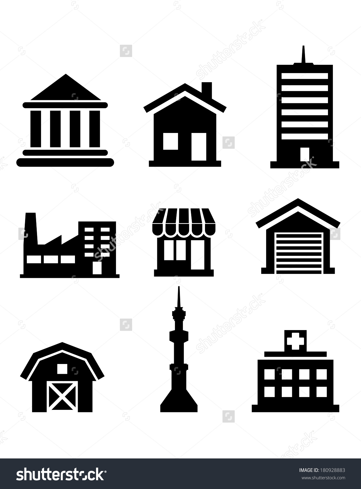 Silhouetted Buildings Architectural Icons Logo Depicting Stock.