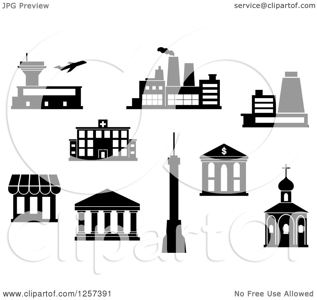 Clipart of a Black and White Airport, Factory, Power Plant.