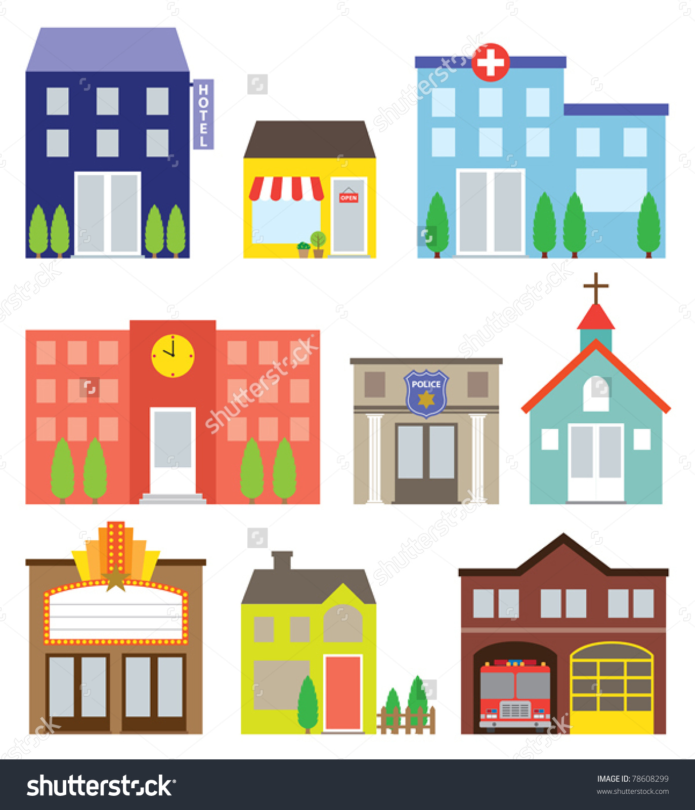 Vector Illustration Buildings Including Store Hotel Stock Vector.