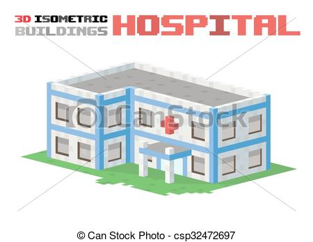EPS Vectors of Hospital building vector illustration. 3d hospital.