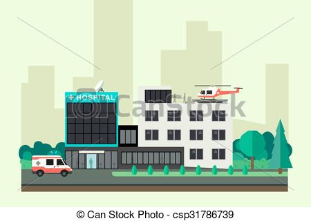 Clipart Vector of Isometric hospital and ambulance building with.
