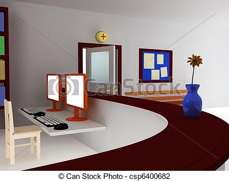 Clip Art of 3d of hospital waiting room and registry.