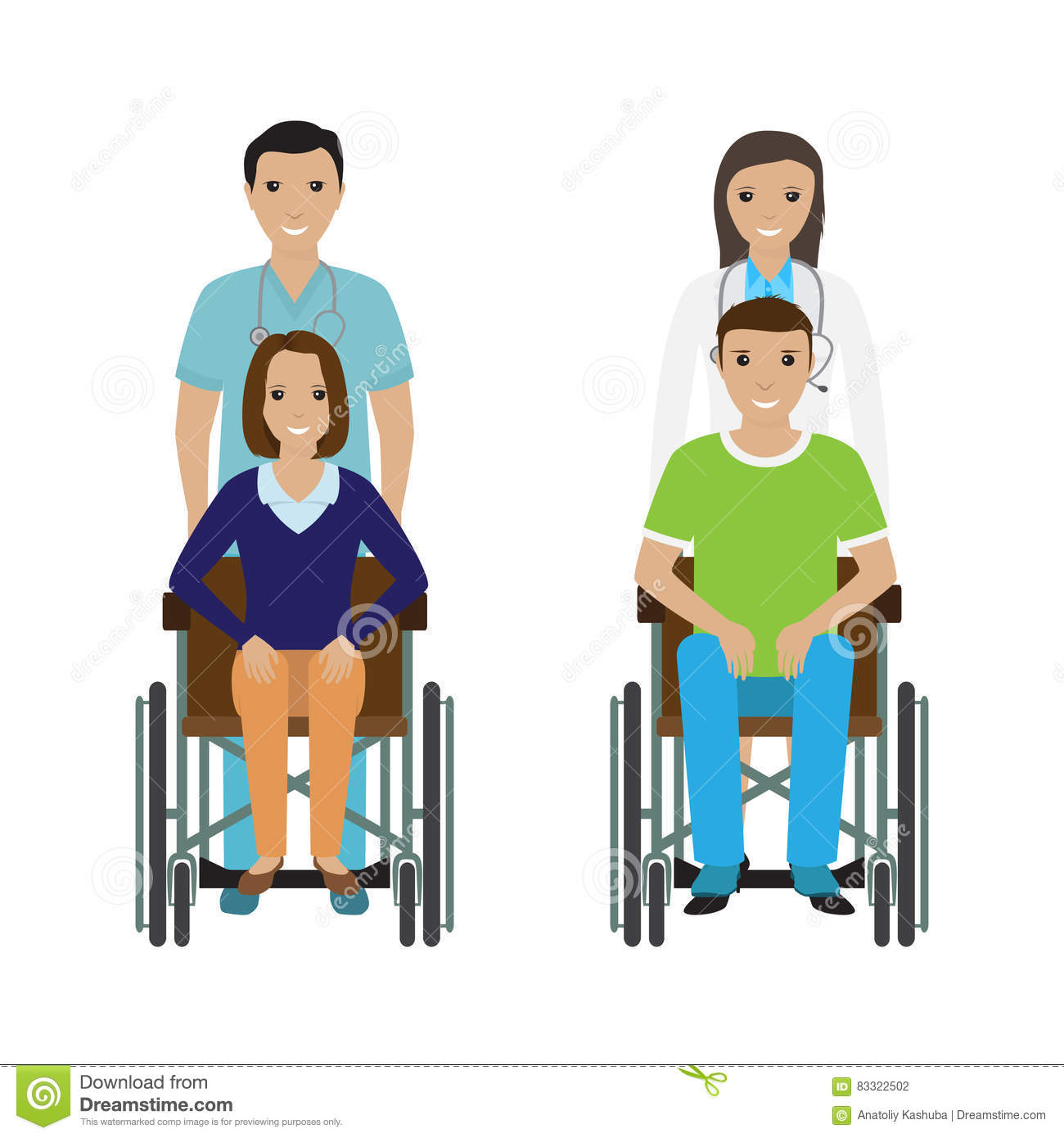 Disability People In Wheelchair With A Hospital Stuff. Disabled.
