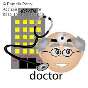 Clip Art Illustration Of A Doctor With A Stethescope. A Hospital.