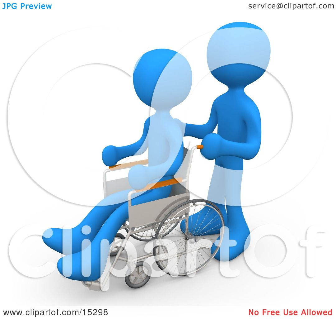 Blue Person Pushing Another Person In A Wheelchair In A Hospital.