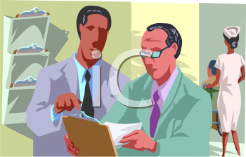 Royalty Free Clip Art Image: Consulting Doctors at a Hospital.