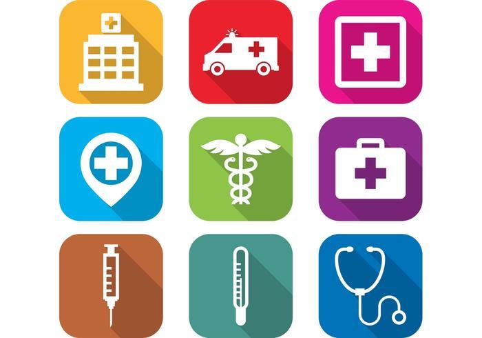 Flat Hospital Icons.