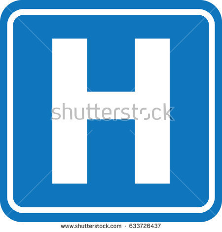 Road Sign Blue White H Hospital Stock Illustration 57674029.