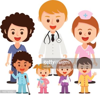 Hospital Team With Children Vector Art.