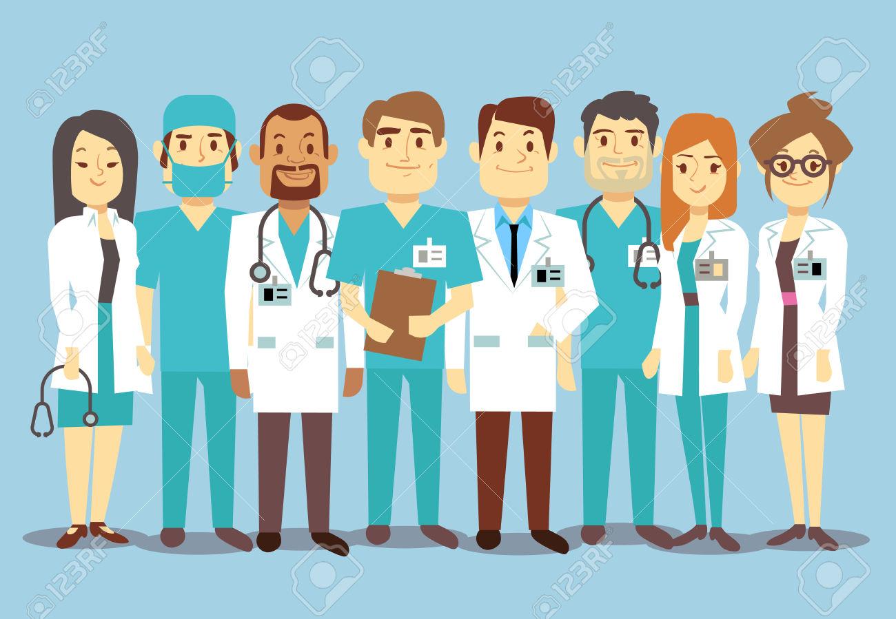 Hospital Medical Staff Team Doctors Nurses Surgeon Vector Flat.