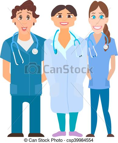 Clipart Vector of Medical team. Group of hospital workers vector.