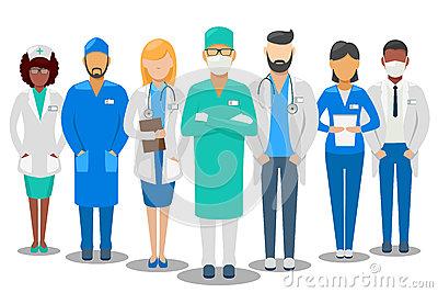 Medical Team. Hospital Staff Vector Illustration Stock Vector.