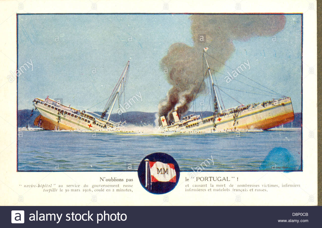 World War One French Postcard Of The Sinking Of The Hospital Ship.
