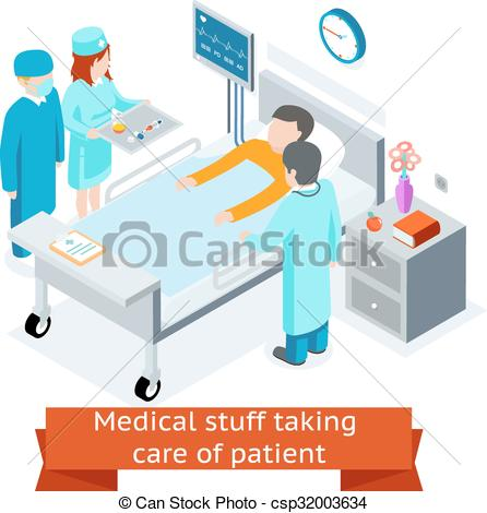Vectors of Medical stuff taking care of patient in the hospital.