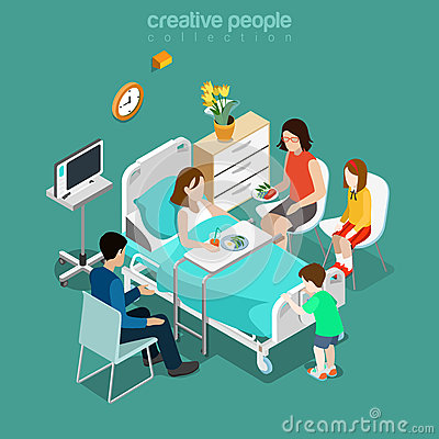Hospital Ward Patient Bed Family Care Flat Isometric Vector 3d.