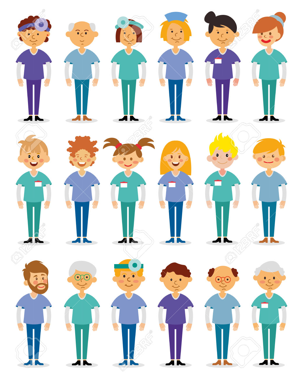Doctors And Nurses And Medical Staffs Flat Design Icon Set.