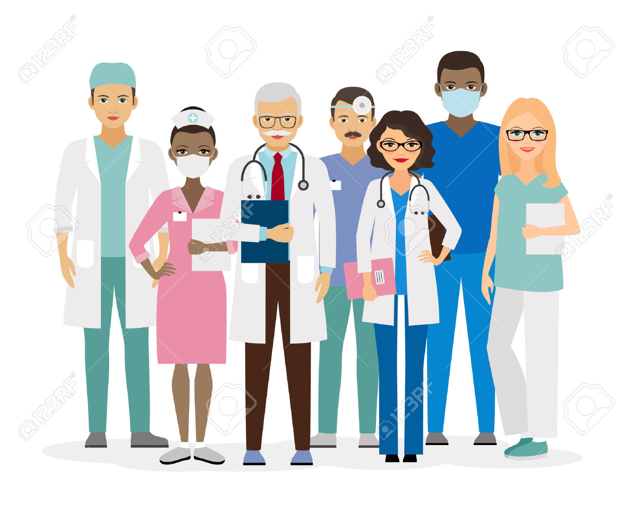 Medical Team. Group Of Hospital Workers Illustration Royalty Free.