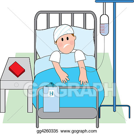 Person In Hospital Bed Clipart.