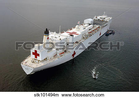 Stock Photo of The Military Sealift Command hospital ship USNS.