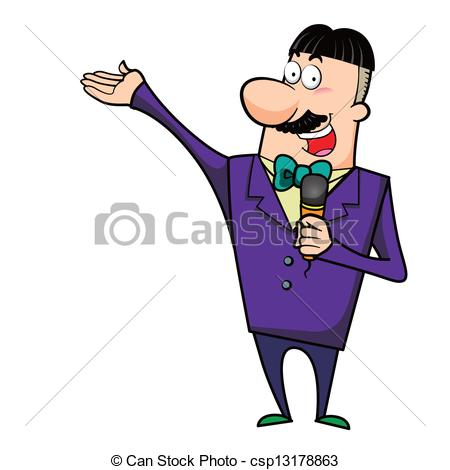 Clip Art Vector of Cartoon Host Emcee with Microphone.