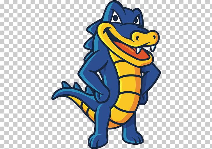 Hostgator Logo, blue crocodile illustration PNG clipart.