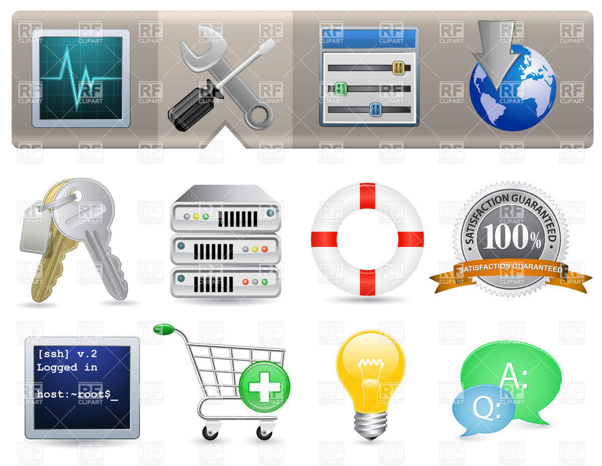 Web Hosting Panel Icon Set Vector Image #6044.