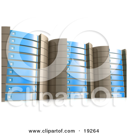 Clipart Illustration of a Web Hosting Server Rack In Green by 3poD.