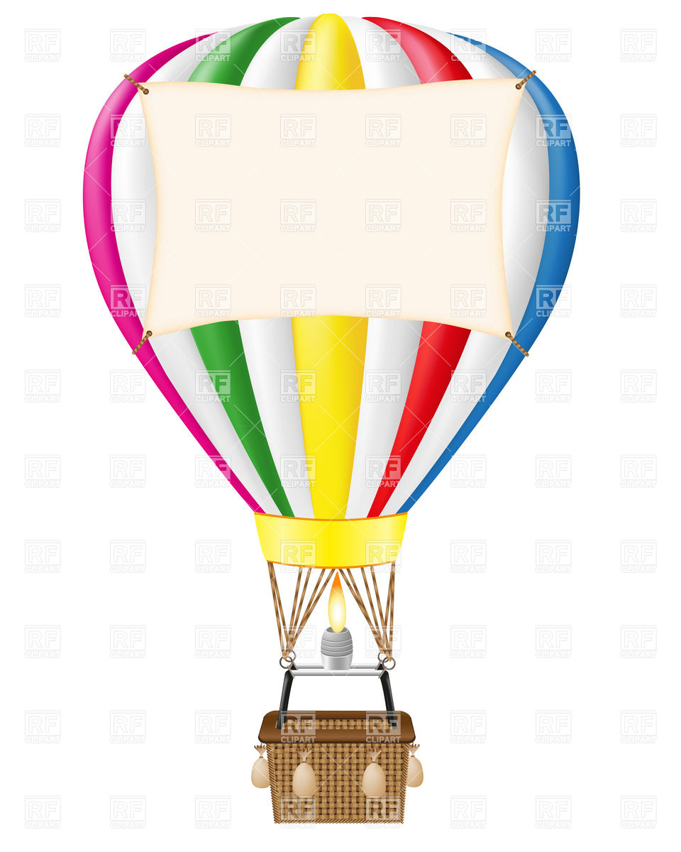 Hot air balloon with blank banner Stock Vector Image.